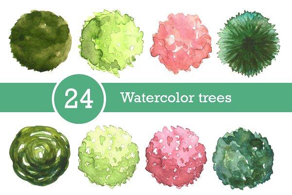 Download Watercolor trees set