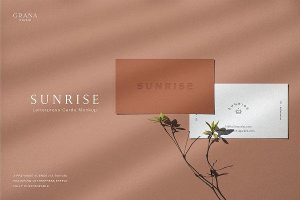 Download SUNRISE - Letterpress Cards Mockup