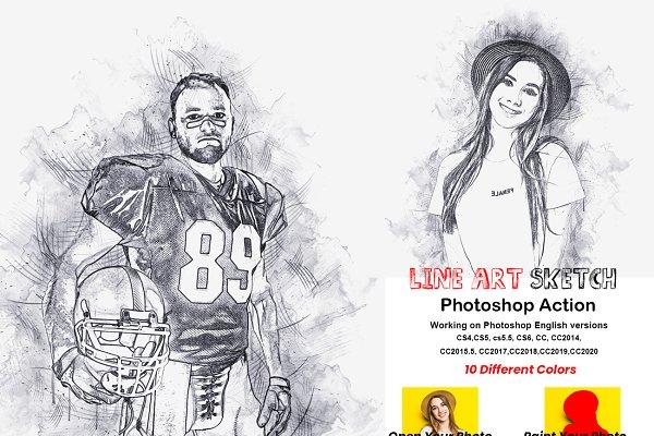 Download Line Art Sketch Photoshop Action