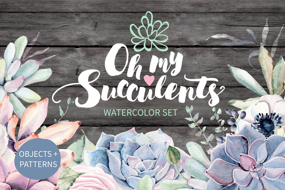 Download Oh my Succulents watercolor set