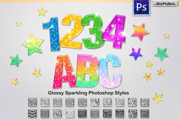 Download Sparkling Glossy Layer Styles for PS