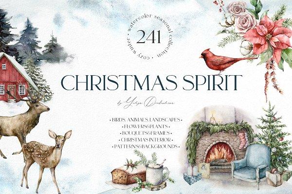 Download Christmas spirit. Watercolor bundle