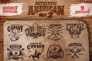 Download Set of vintage cowboy emblems.