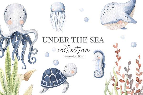 Download Under The Sea - watercolor set