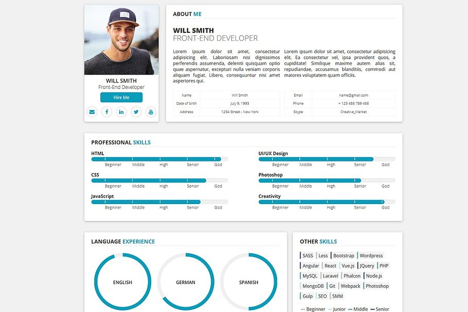 Download Redax WP - Simple OnePage CV Resume