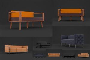 Download 3D Models For Blender 5 Modern Sofas