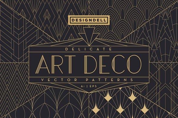Download Delicate Art Deco Vector Patterns