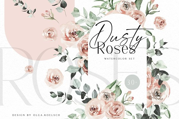 Download Dusty Roses Boho Watercolor