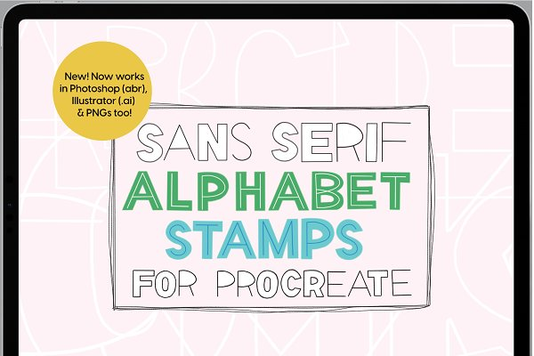 Download Sans Serif Stamps for Procreate