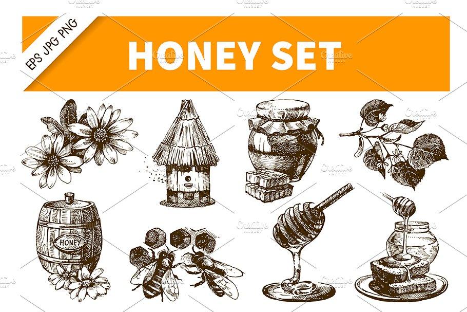 Download Honey Hand Drawn Vintage Set