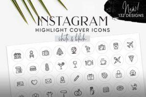 Download White & Black Instagram Cover Icons