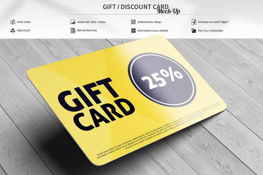 Download Gift / Discount Card Mock-Up