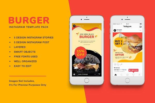 Download Burger Instagram Template