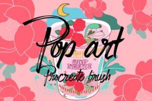 Download peony pop art procreate stamp brush