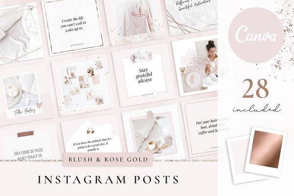 Download Instagram Templates Canva Rose Gold