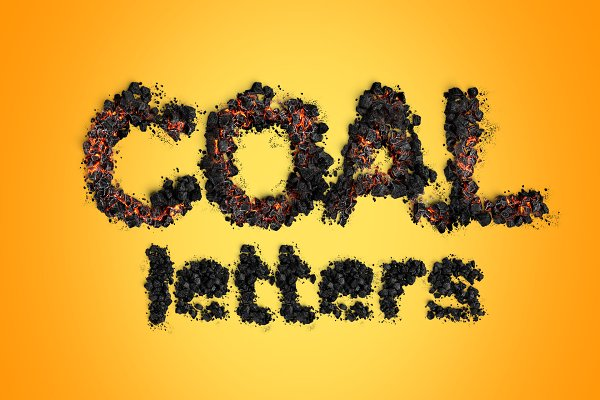 Download 3D Psd Coal and Ember Letters
