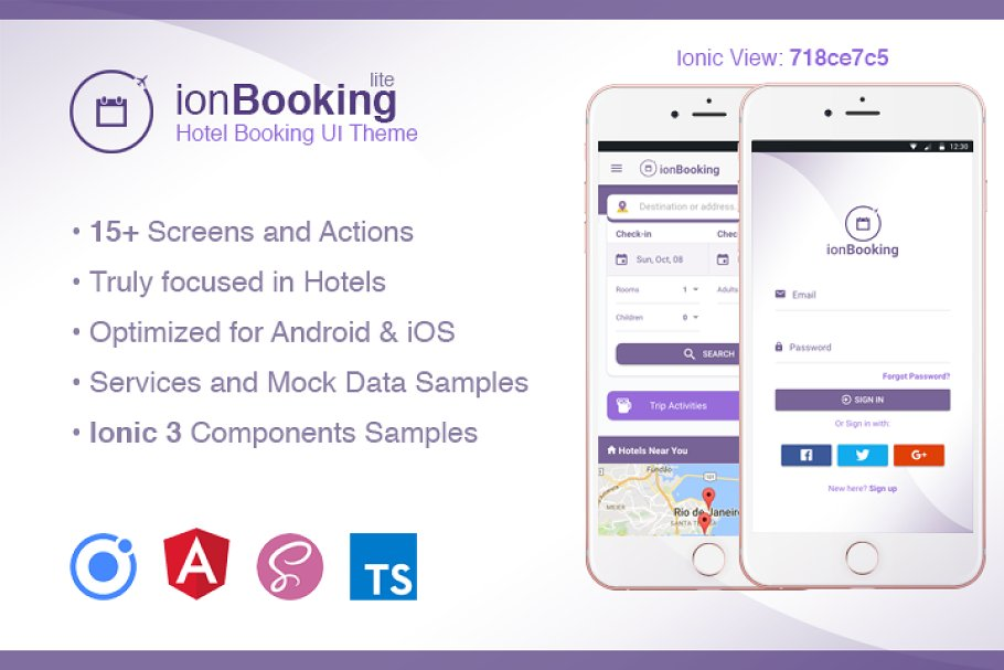Download Ionic 3 Hotel Booking Theme Lite