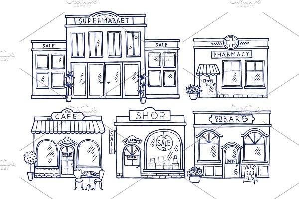 Download Buildings facade front view. Shop