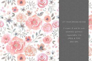 Download Watercolour Floral Seamless Pattern