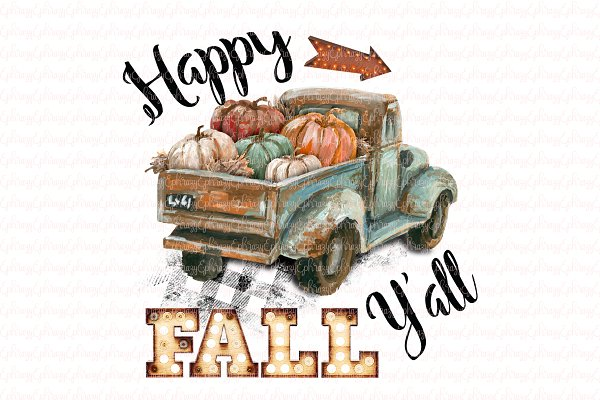 Download Happy Fall Y'all. Truck clipart