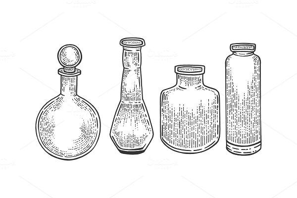 Download Chemical laboratory flasks sketch