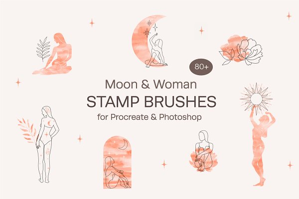 Download Moon & Woman. Procreate & Ps Brushes