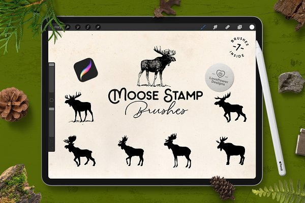 Download Moose Stamp Brushes for Procreate
