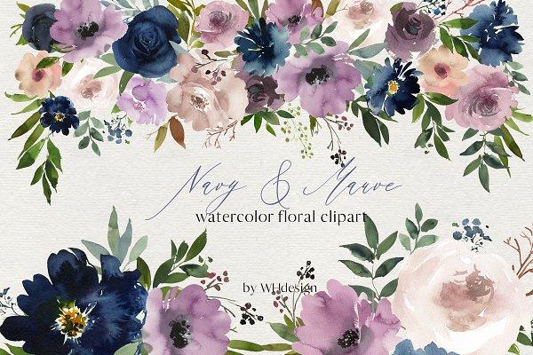 Download Navy Mauve Watercolor Floral Clipart