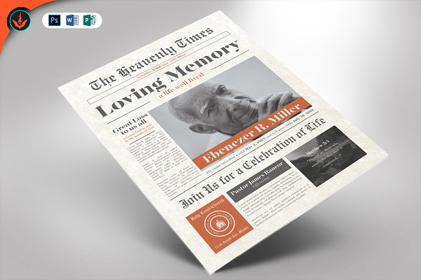 Download Newspaper Funeral Announcement Card