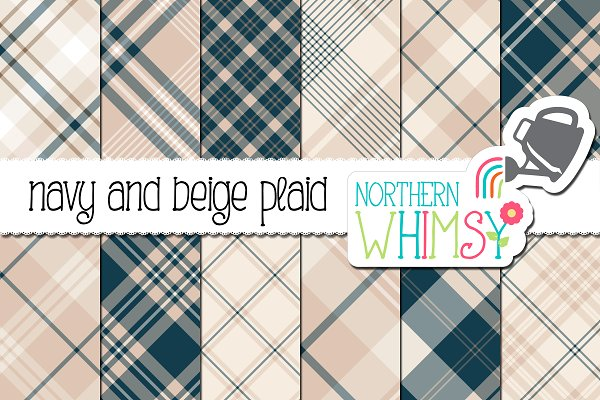 Download Navy & Beige Seamless Diagonal Plaid