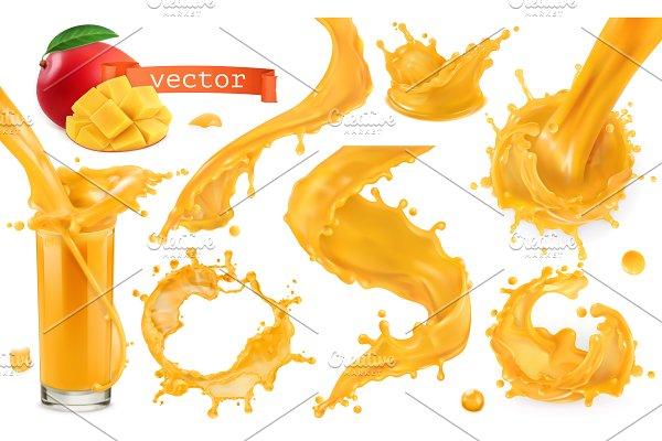 Download Orange paint splashes. Vector icons