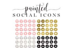 Download Painted Gold Foil Social Media Icons