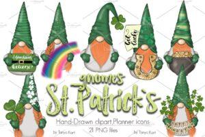 Download St. Patricks Gnomes Icons & Pattern