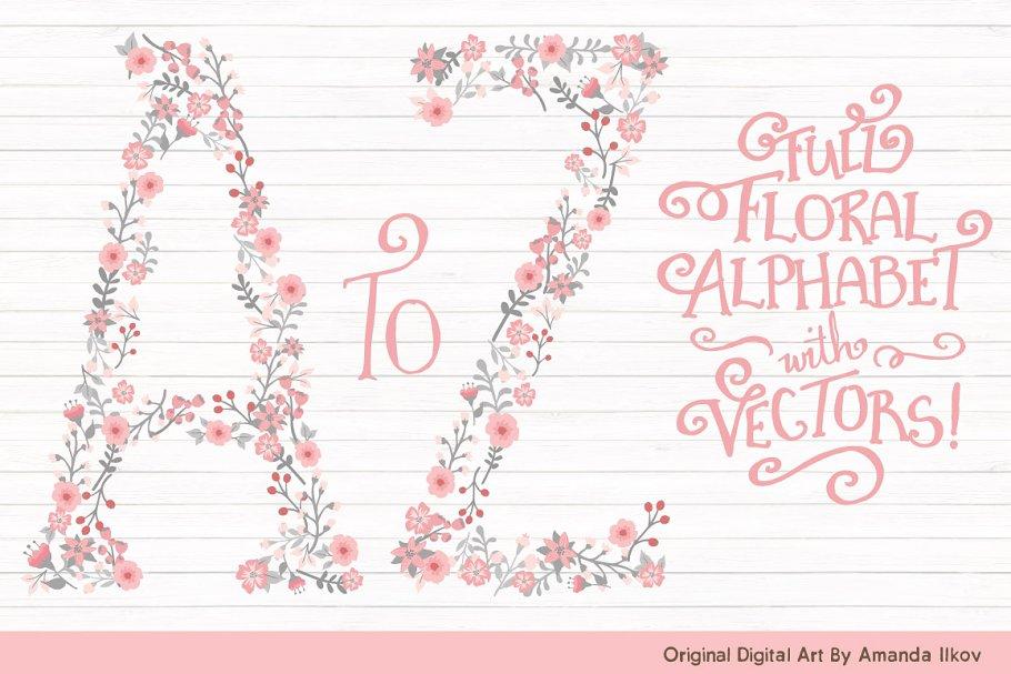 Download Pink & Grey Floral Alphabet Vectors