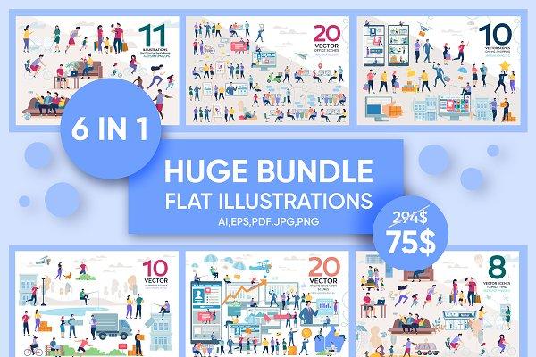 Download Huge Bundle Flat Illustration