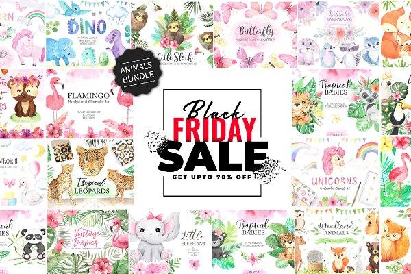 Download BUNDLE Watercolor Cute Animals 70%
