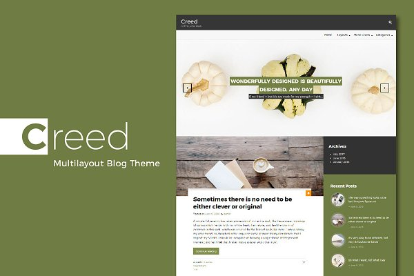 Download Creed. Multilayout Blog Theme