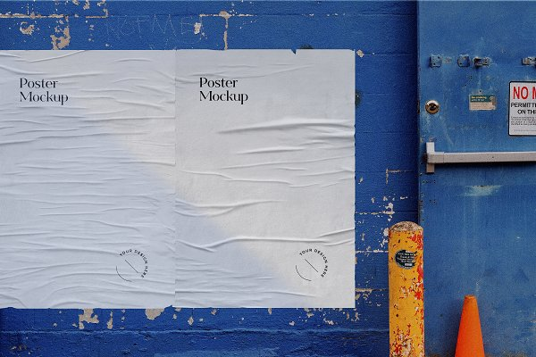 Download Glued Poster Mockup on Paint Wall