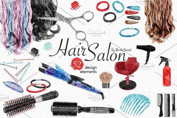 Download Hair Salon - Watercolor Elements