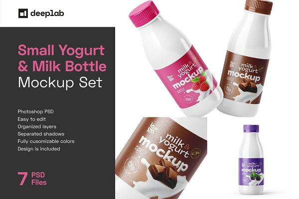 Download Small Yogurt & Milk Bottle Mockup