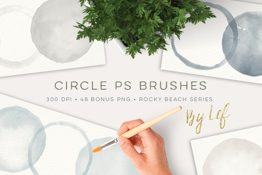 Download Photoshop Brush set Round Watercolor