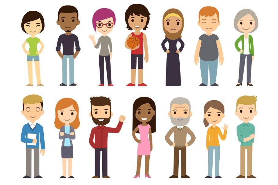 Download Diverse cartoon characters