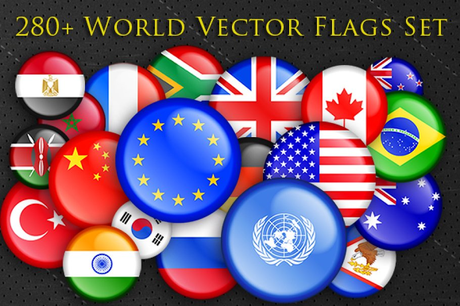 Download 280+ World National Flags Buttons