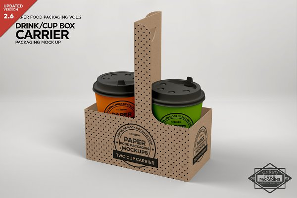 Download Drink Cup Carrier Packaging Mockup