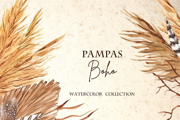Download Pampas Boho. Watercolor collection