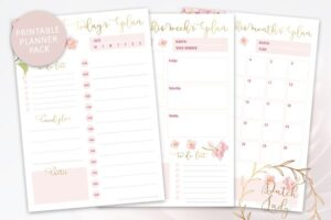 Download Printable Planner Pack Pink Flowers