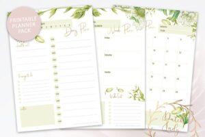 Download Printable Planner Pack Green Florals