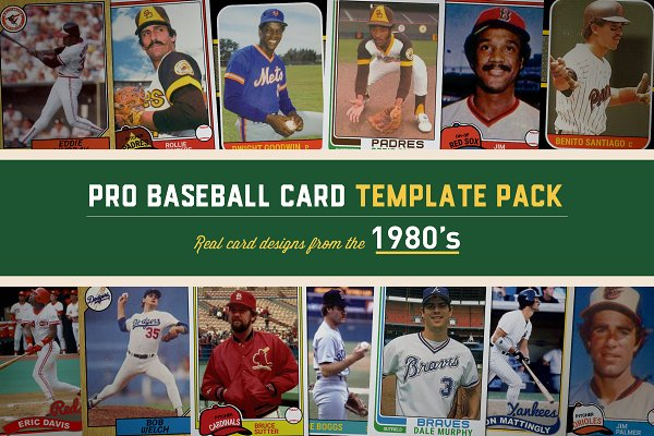 Download 1980's Pro Baseball Card Templates