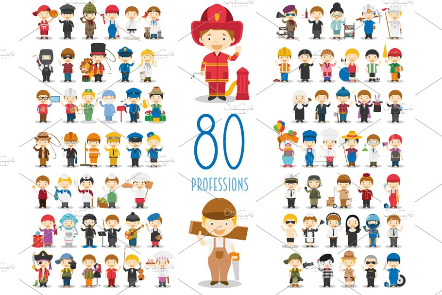 Download 80 professions in cartoon style