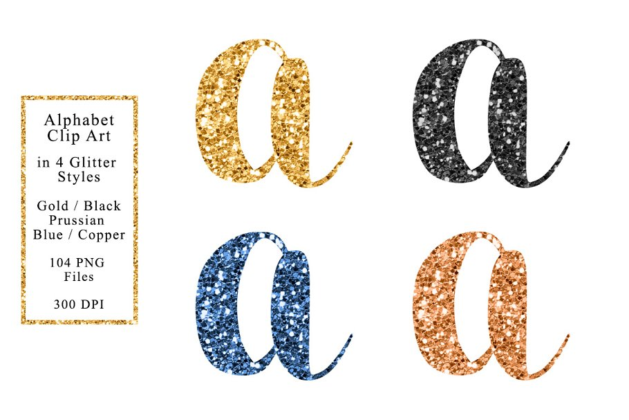 Download Sparkle Alphabet in 4 Colors